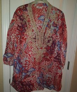 Charter Club Tunic Plus 2X Red Pattern Shirt Top